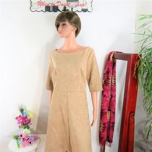New! Alexia Admor Vegan Suede Tan Fit & Flare
